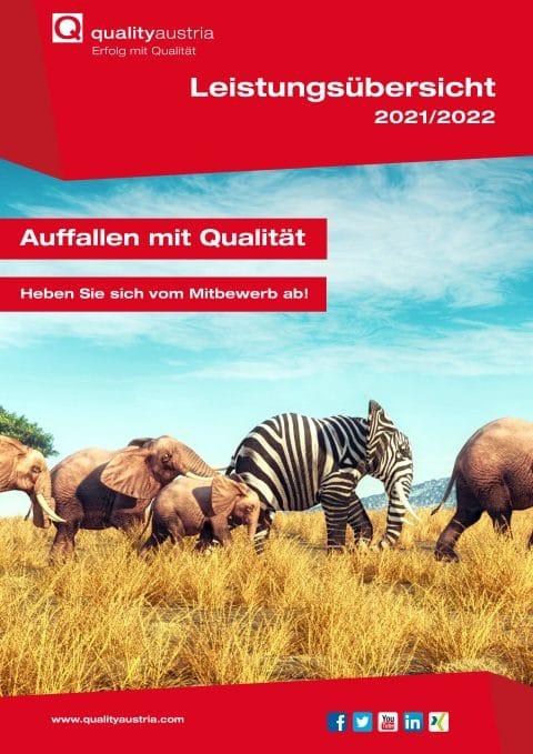 Cover der Leistungsübersicht 2021/2022 - Auffallen mit Qualität