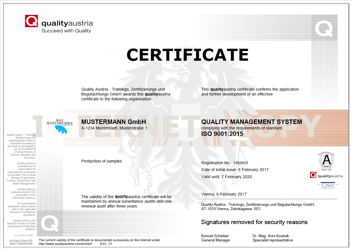 System and product certification - Quality Austria