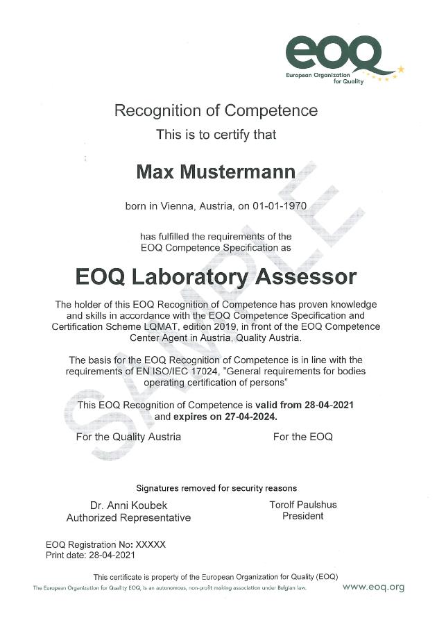 Muster eines EOQ Zertifikats 2019